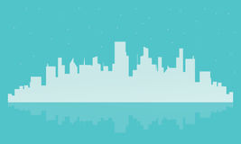 Big city landscape illustration silhouettes Royalty Free Stock Photography
