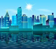 Big city landscape with reflection on water. Sunny day in metropolis. Real Estate design concept. Cityscape vector illustration. Skyscrapers and blue sky Royalty Free Stock Image