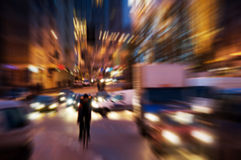 Big city life. At night. Dynamic motion blur royalty free stock images