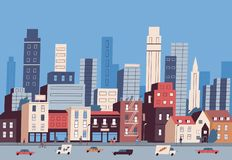 Big city life. Panoramic view of modern downtown with urban buildings, skyscrapers, transport on road and pedestrians. Walking along sidewalk. Colorful vector stock illustration
