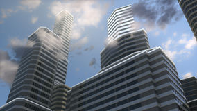 Big city in the morning. Sky between tall buildings in big city Stock Photography