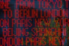 Big city names on led light board Stock Images