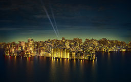 Big city by night. Very high resolution 3d rendering of a big modern city by night Royalty Free Stock Image