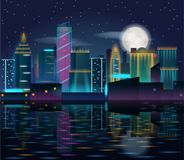 Big city night landscape with skyscrapers in neon lights. Buildings reflection in the water. Vector illustration of metropolis with full moon in dark sky Royalty Free Stock Image