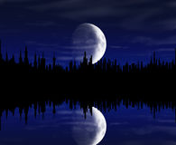 Big City Night. A big city nith with beautiful moon and clouds Royalty Free Stock Photo