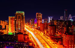 Big city night view from the top. Dusk Royalty Free Stock Photos