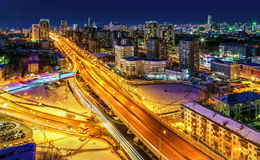 Big city night view from the top Stock Photo