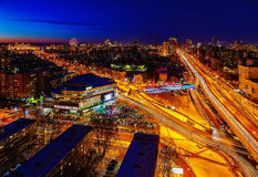 Big city night view from the top Stock Photography