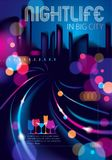 Big city nightlife with street lamps and bokeh blurred lights. Effect vector beautiful background. Blur colorful dark background. With cityscape, buildings royalty free illustration