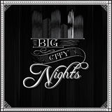 Big city nights monochrome typography background Royalty Free Stock Photos