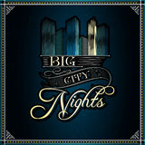 Big City Nights  vector typographic background Royalty Free Stock Photos