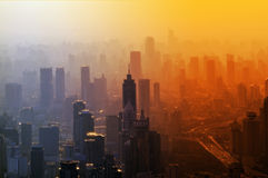 Big city - panorama. Big city in the fog - a view from the top royalty free stock photo