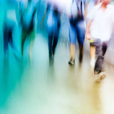 Big city people walk on road. In rainy day, blured motion abstract background Royalty Free Stock Photos