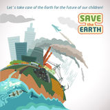 Big city pollution eco poster. Big city pollution. Save the Earth eco poster Stock Photo