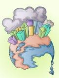 Big city and polution smoke on melting globe. Big city and the pollution effect on melting globe, illustration Royalty Free Stock Image