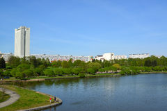 Big City pond and park of  Victory in Zelenograd, Russia Stock Photos