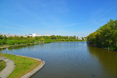 Big City pond and park of  Victory in Zelenograd, Russia Stock Photography