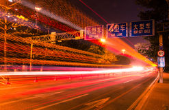 Big city road car lights at night Stock Photography
