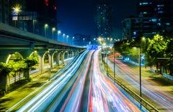 Big city road car lights at night Stock Photo