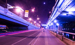 Big city road car lights at night Royalty Free Stock Image