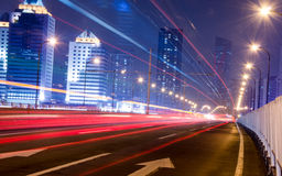 Big city road car lights at night Royalty Free Stock Image