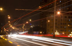 Big city road car lights at night Stock Photography