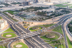 Big city road intersections, aerial view Stock Image