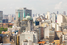 The big city of Sao Paulo and the Se Cathedral Royalty Free Stock Photography