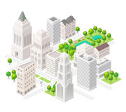 Big city. Set of the isometric vector elements. Skyscrapers, park with ponds, сity buildings  and shops Stock Photography