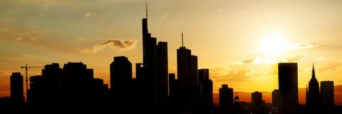 Big city silhouette skyline of Frankfurt am Main. At sunset as a panorama Royalty Free Stock Photos
