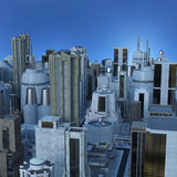 Big city skyline. 3d CG illustration of abstract big city skyline view from top Royalty Free Stock Photography