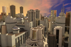 Big city skyline. 3d CG illustration of abstract big city skyline view from top Stock Photography