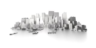 Big city skyline extreme panorama Stock Illustration