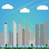 Big City Skyline, heavy rush hour Traffic, Daylight, blue colors Stock Photo