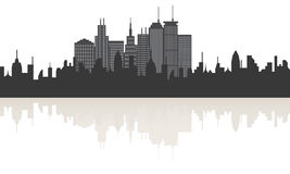 Big city skyline with reflection Stock Images