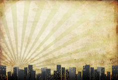 Big city skyline, retro paper background Stock Image