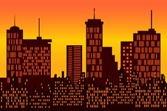 Big city skyline silhouette Royalty Free Stock Image
