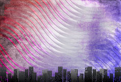 Big city skyline, textural retro background Royalty Free Stock Photo