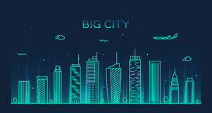 Big city skyline Trendy vector illustration linear Stock Image