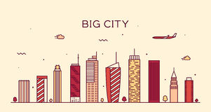 Big city skyline Trendy vector illustration linear Royalty Free Stock Photography