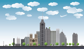 Big city with skyscrapers, blue sky,trees. vector illustration Stock Photo