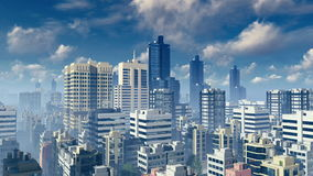 Big city skyscrapers at daytime time lapse. Aerial view of abstract big city with modern high rise buildings skyscrapers at daytime time lapse. Sliding forward stock illustration