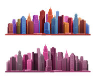 Big city with skyscrapers icons. Vector illustration Royalty Free Stock Photography