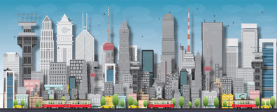 Big city with skyscrapers and small houses Royalty Free Stock Photos