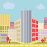 Big City Street with modern building architecture  Royalty Free Stock Photography