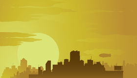 Big city at sunset. Royalty Free Stock Photo