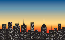 Big city at sunset Royalty Free Stock Photos