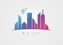 Big city symbol. Modern colorful style with hot air balloon Stock Photos