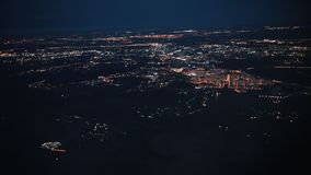 Big city top view from above. Lights of the street. View from the airplane window. stock footage