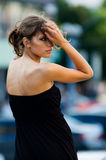 Big city walk. Fashion model being caught in action Royalty Free Stock Photography